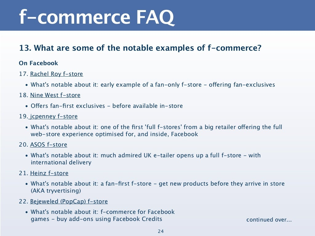 f-commerce FAQ13. What are some