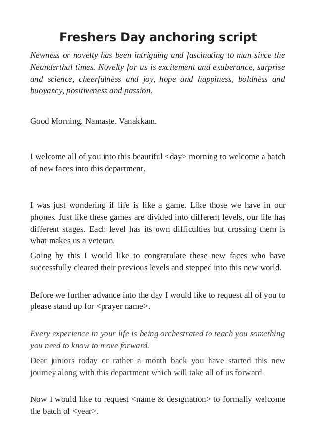 Anchoring Script For Farewell Party Pdf