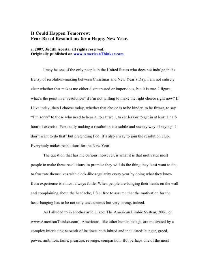 It Could Happen Tomorrow: Fear-Based Resolutions for a Happy New Year.  c. 2007, Judith Acosta, all rights reserved. Origi...