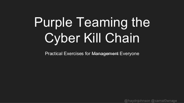 @haydnjohnson @carnal0wnage Purple Teaming the Cyber Kill Chain Practical Exercises for Management Everyone