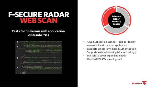 F secure Radar vulnerability scanning and management