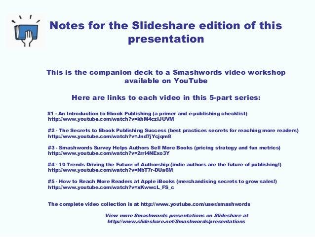 Smashwords Survey Helps Authors Sell more eBooks (Smashwords tutorial series, #3)  Slide 2