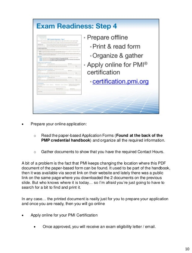 filling out pmp credential application