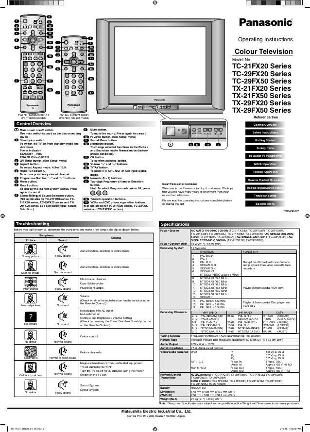 MENU TV/AV AV 2 I N V I D E O L / M O N O R AU D I O MENU TV/AV Matsushita Electric Industrial Co., Ltd. Central P.O. Box ...
