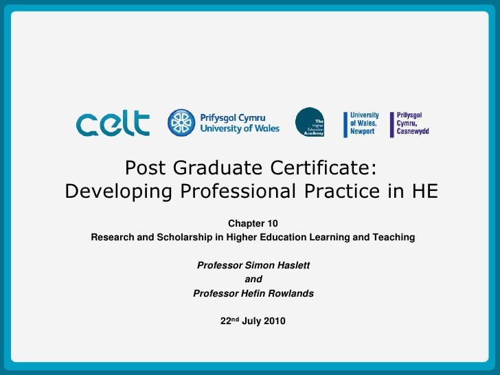 Post Graduate Certificate: Developing Professional Practice in HE<br />Chapter 10<br />Research and Scholarship in Higher ...