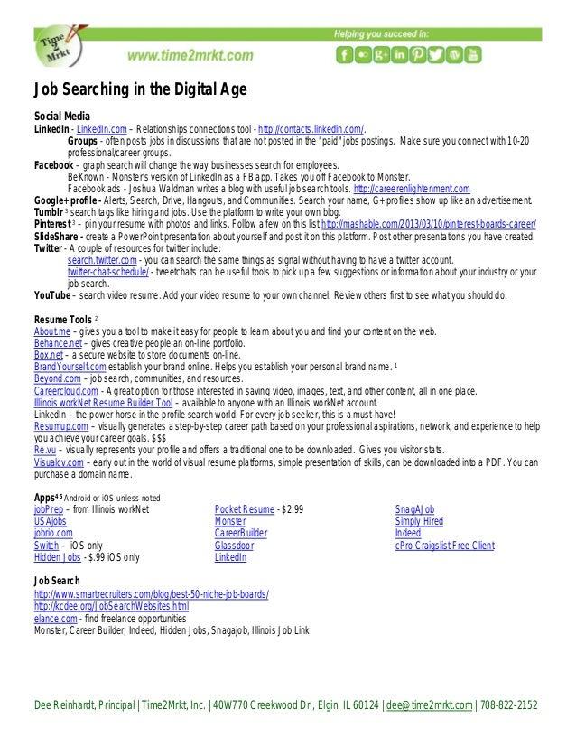 Dee Reinhardt, Principal   Time2Mrkt, Inc.   40W770 Creekwood Dr., Elgin, IL 60124   dee@time2mrkt.com   708-822-2152 Job ...