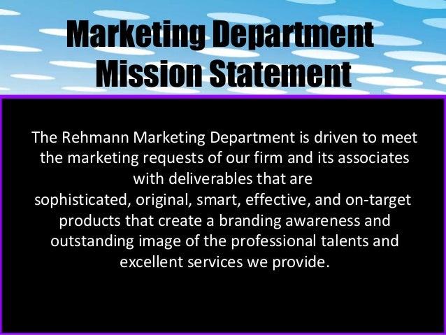 Marketing department mission statement