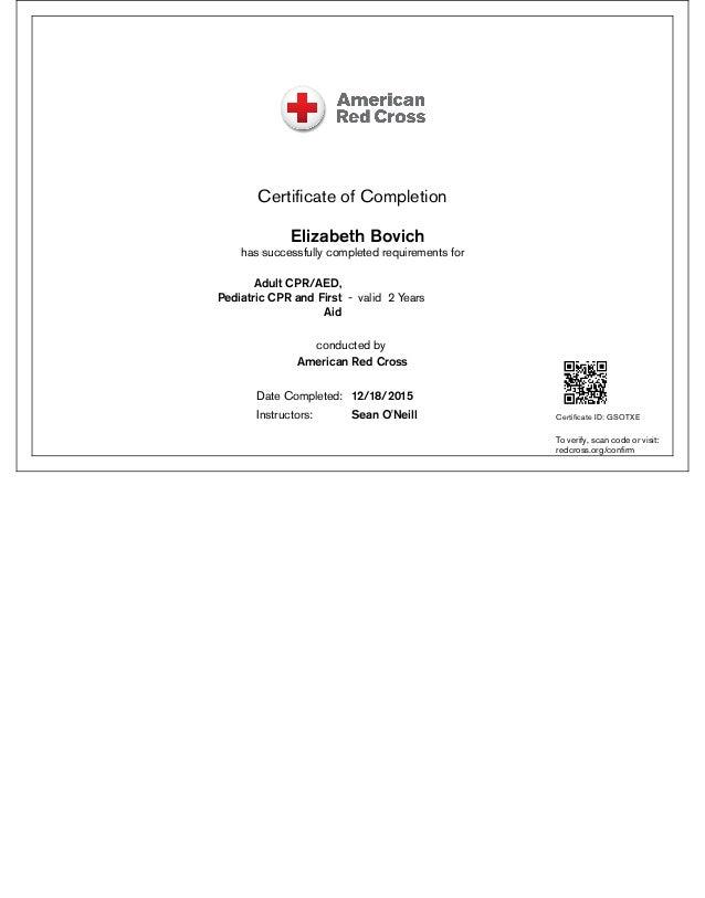 Red Cross Certificate
