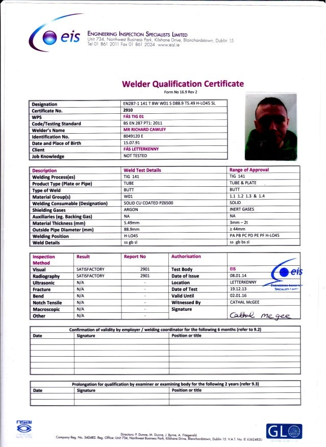 Welding Certification Test Image Collections Editable Certificate