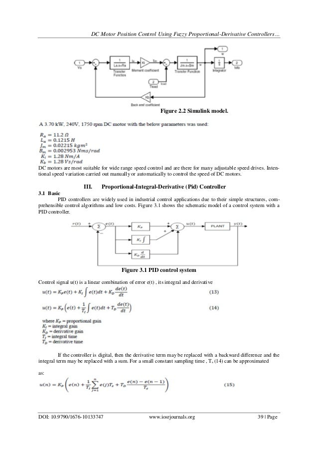 DC Motor Position Control Using Fuzzy Proportional-Derivative Control…