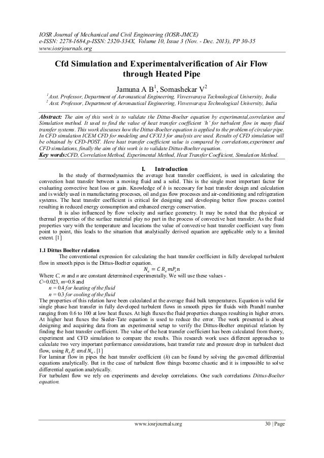 Cfd Simulation and Experimentalverification of Air Flow through Heate…
