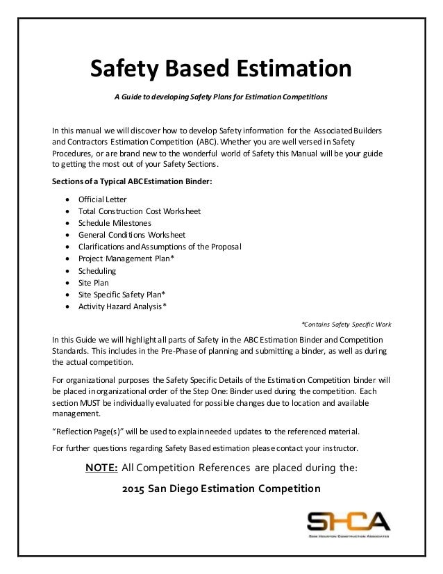 Safety Based Estimation FINAL – Safety Plan Worksheet