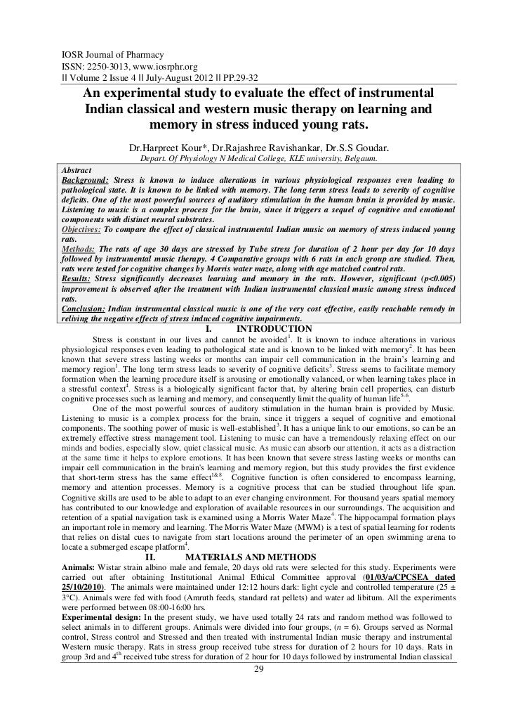 IOSR Journal of PharmacyISSN: 2250-3013, www.iosrphr.org‖‖ Volume 2 Issue 4 ‖‖ July-August 2012 ‖‖ PP.29-32      An experi...