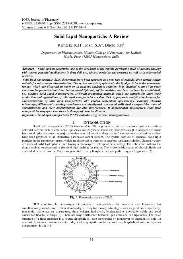 IOSR Journal of Pharmacye-ISSN: 2250-3013, p-ISSN: 2319-4219, www.iosrphr.orgVolume 2 Issue 6 ‖‖ Nov-Dec. 2012 ‖‖ PP.34-44...