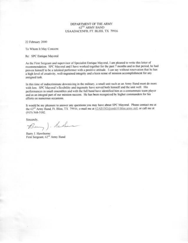 Army Letter Of Recommendation