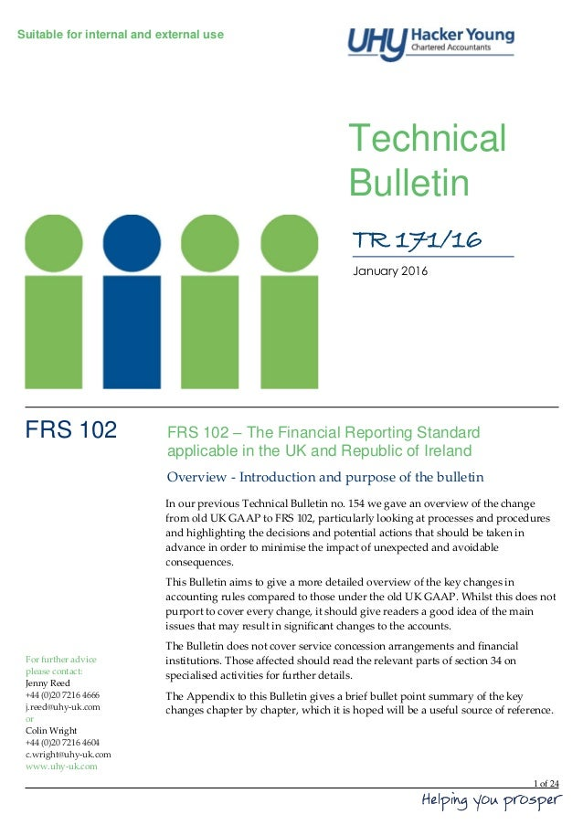 1 of 24 Suitable for internal and external use Technical Bulletin FRS 102 – The Financial Reporting Standard applicable in...