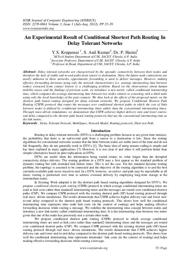 IOSR Journal of Computer Engineering (IOSRJCE) ISSN: 2278-0661 Volume 3, Issue 1 (July-Aug. 2012), PP 35-39 www.iosrjourna...