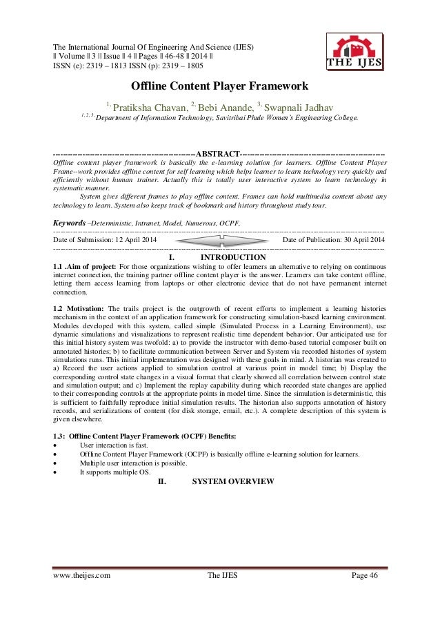 The International Journal Of Engineering And Science (IJES) || Volume || 3 || Issue || 4 || Pages || 46-48 || 2014 || ISSN...