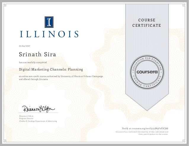 Coursera Certificate Digital Marketing Channels Planning