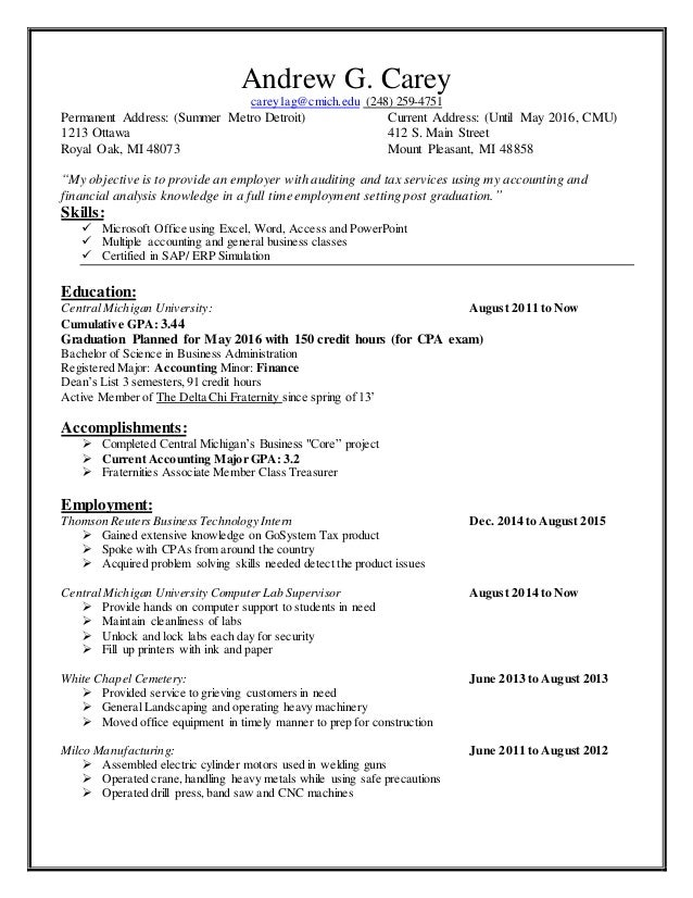 Andrew Carey Resume