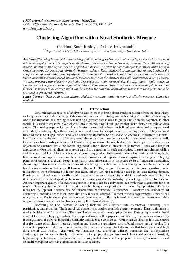 IOSR Journal of Computer Engineering (IOSRJCE) ISSN: 2278-0661 Volume 4, Issue 6 (Sep-Oct. 2012), PP 37-42 www.iosrjournal...