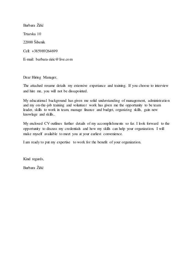 cover letter zamolba