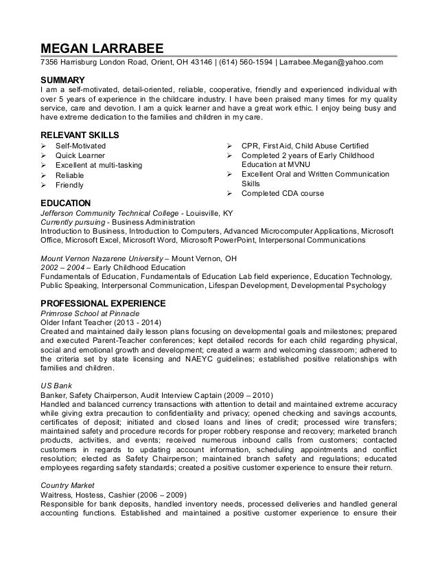 Childcare Resume Sample Resume Template For Child Care Worker