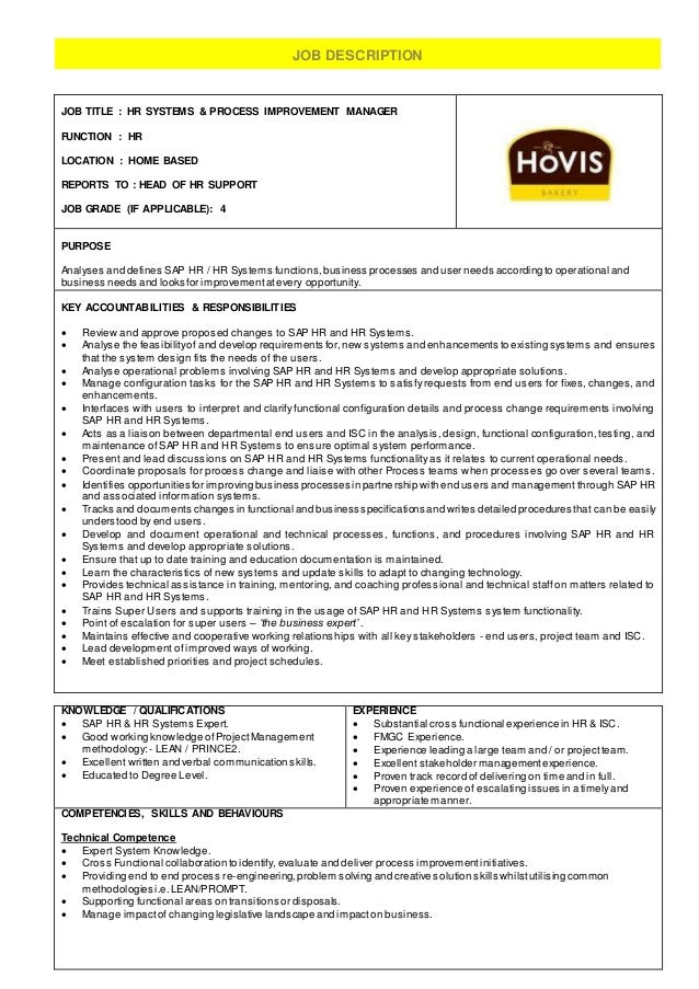 Hr Systems & Process Improvement Manager - Job Description - Hovis