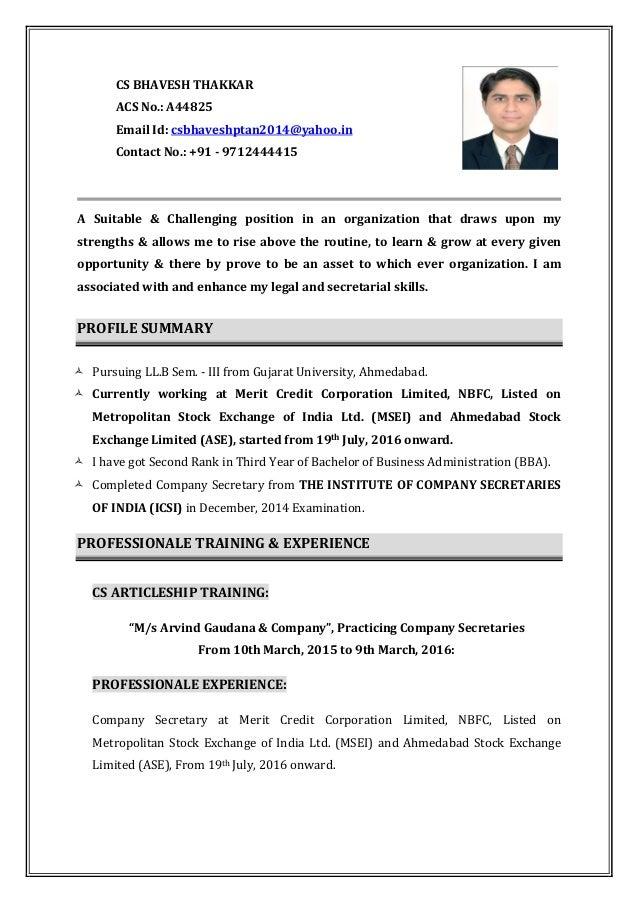 resume  company secretary