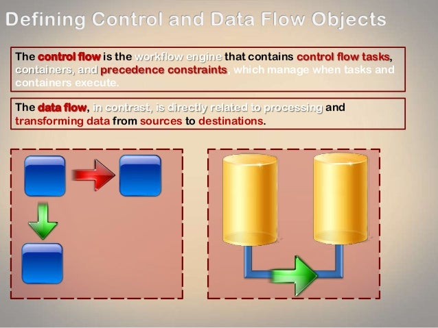 The control flow is the workflow engine that contains control flow tasks, containers, and precedence constraints, which ma...
