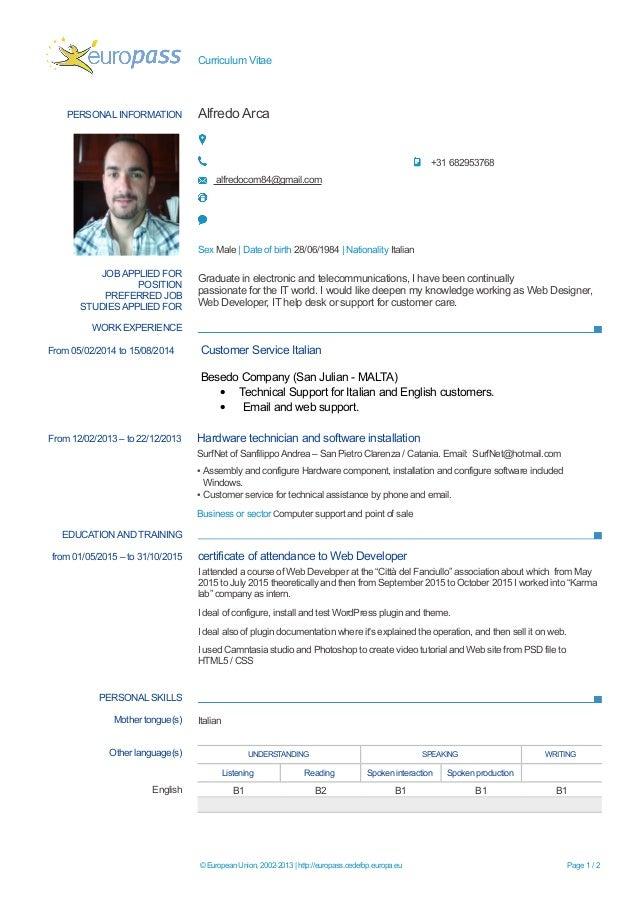 curriculum vitae personal information alfredo arca 31 682953768 alfredocom84gmailcom sex male