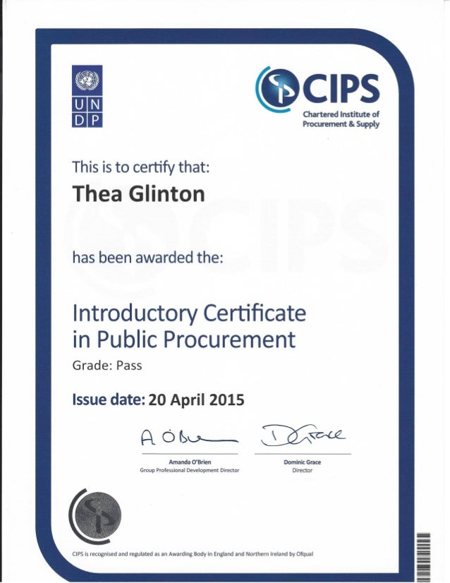 CIPS Introductory Certificate in Public Procurement