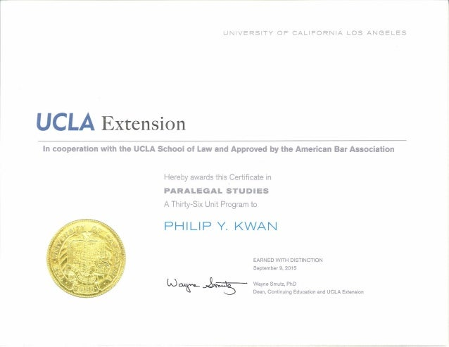 Ucla Extension Paralegal Training Program 09 09 15 Certificate