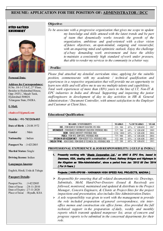 SYED SAYEED KHUNDMIRY Personal Data: Address for Correspondence: H.No. 10-1-17/A/C, 2nd Floor, Besides to Hyderabad House,...