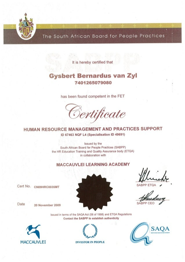 Certificate - Human Resource Management and Practices Support