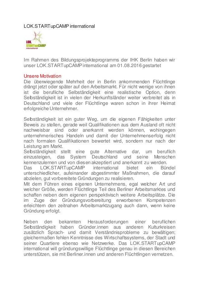LOK.STARTupCAMP international Im Rahmen des Bildungsprojekteprogramms der IHK Berlin haben wir unser LOK.STARTupCAMP inter...