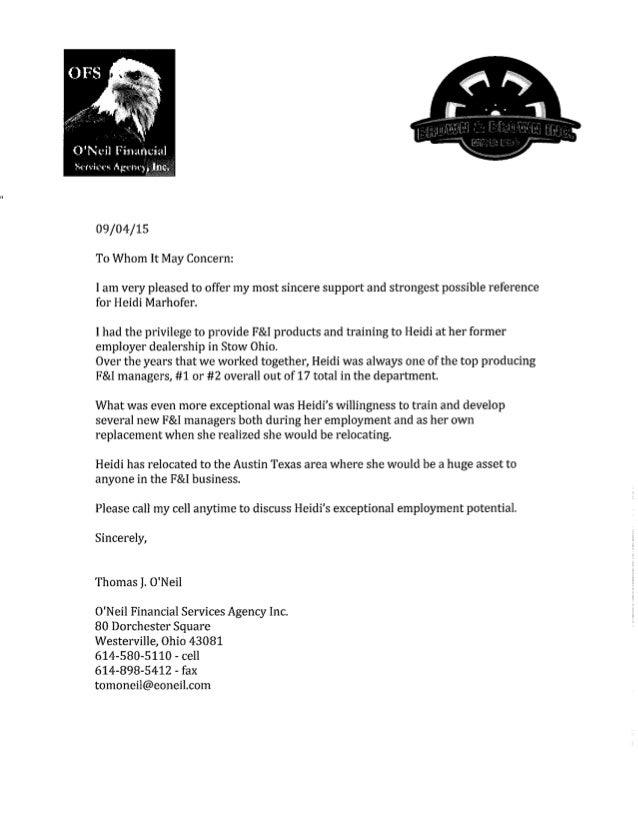 Heidi Marhofer - Letter & Resume