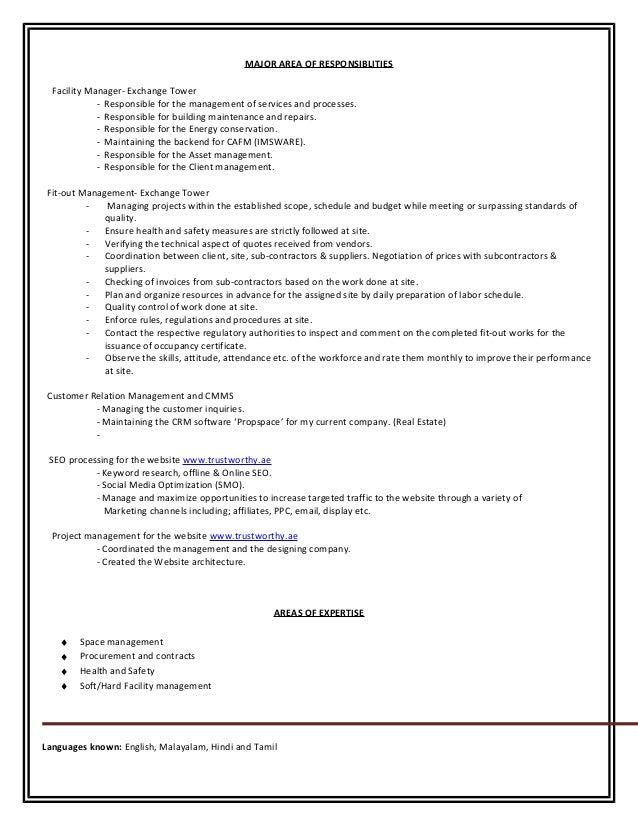 Resume Facility Manager Slide 2