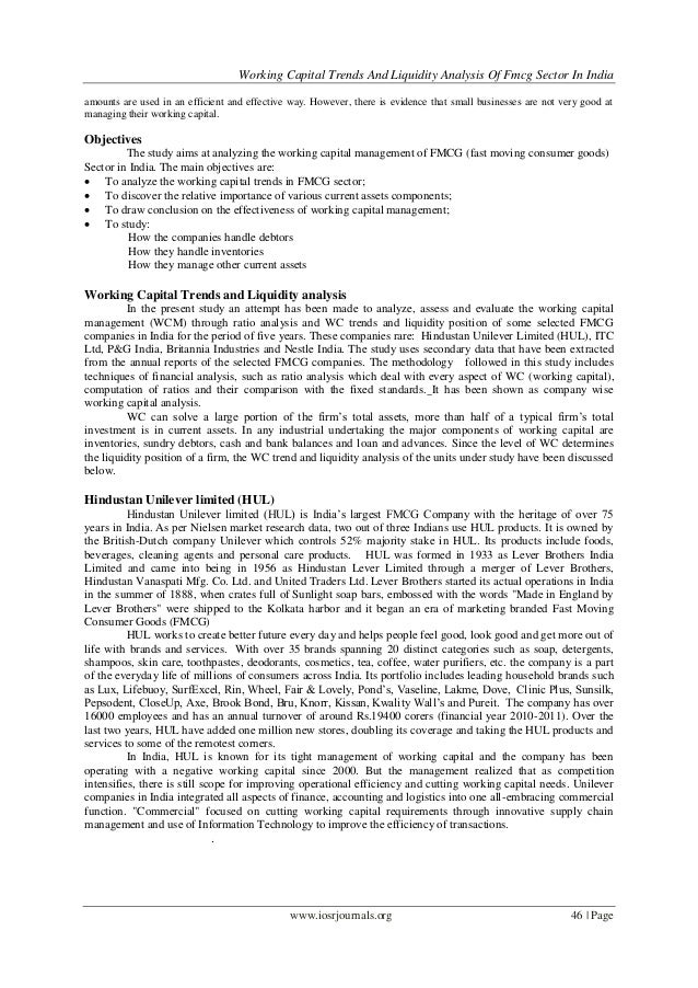 Working Capital Trends And Liquidity Analysis Of Fmcg Sector In Indiawww.iosrjournals.org 46 | Pageamounts are used in an ...