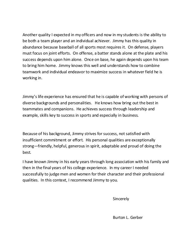 personel reference letter