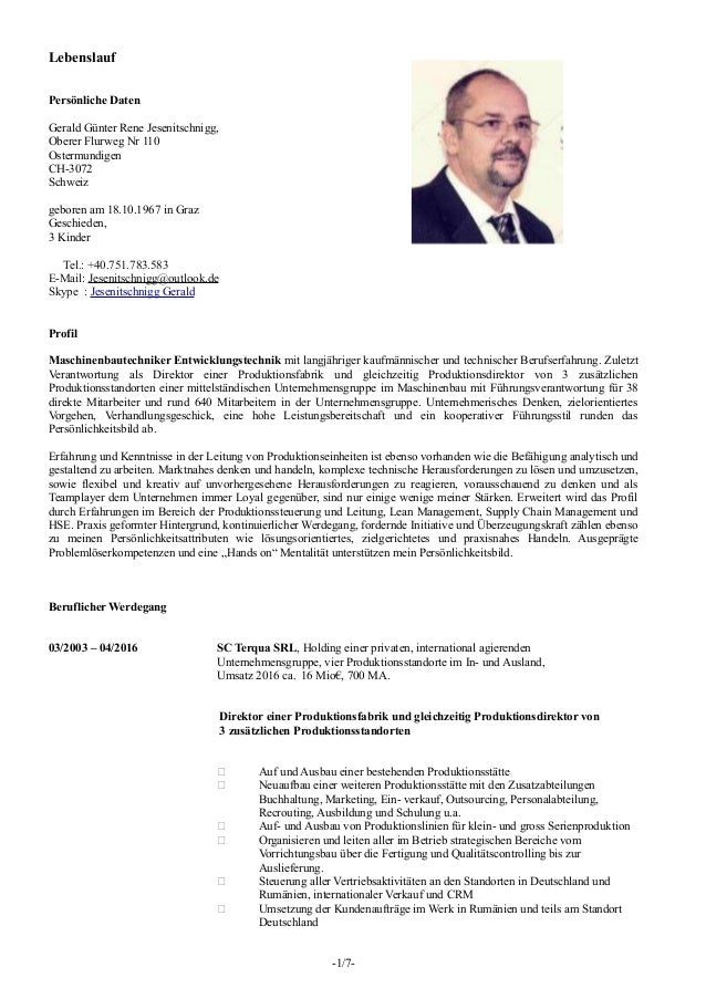 Lebenslauf Persönliche Daten Gerald Günter Rene Jesenitschnigg, Oberer Flurweg Nr 110 Ostermundigen CH-3072 Schweiz gebore...