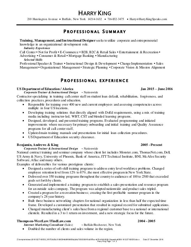 Harry King Corporate Trainer Resume