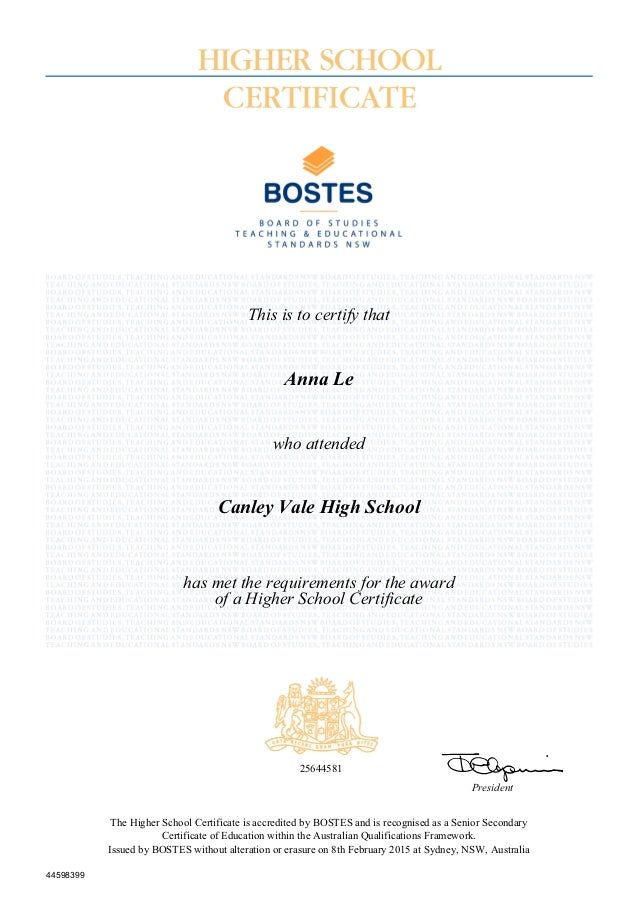 Higher School Certificate Record Of Achievement