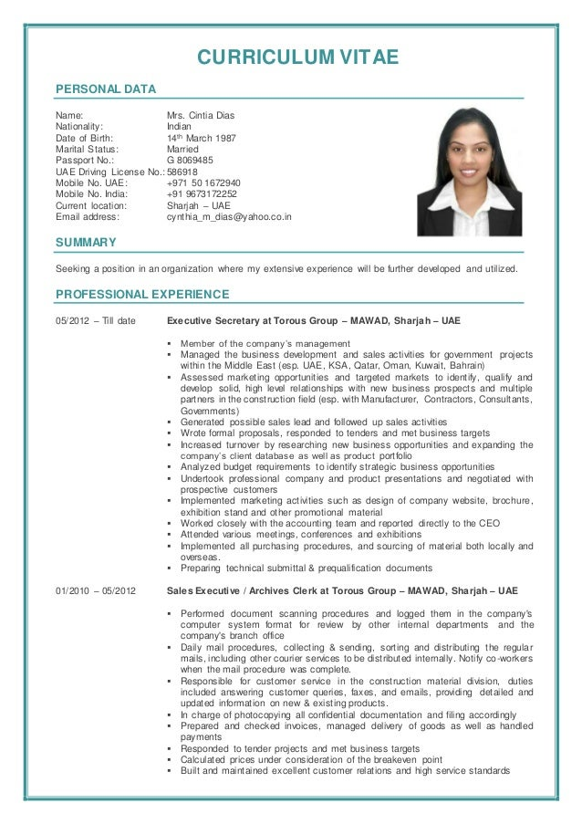 CURRICULUM VITAE PERSONAL DATA Name: Mrs. Cintia Dias Nationality: Indian Date of Birth: 14th March 1987 Marital Status: M...