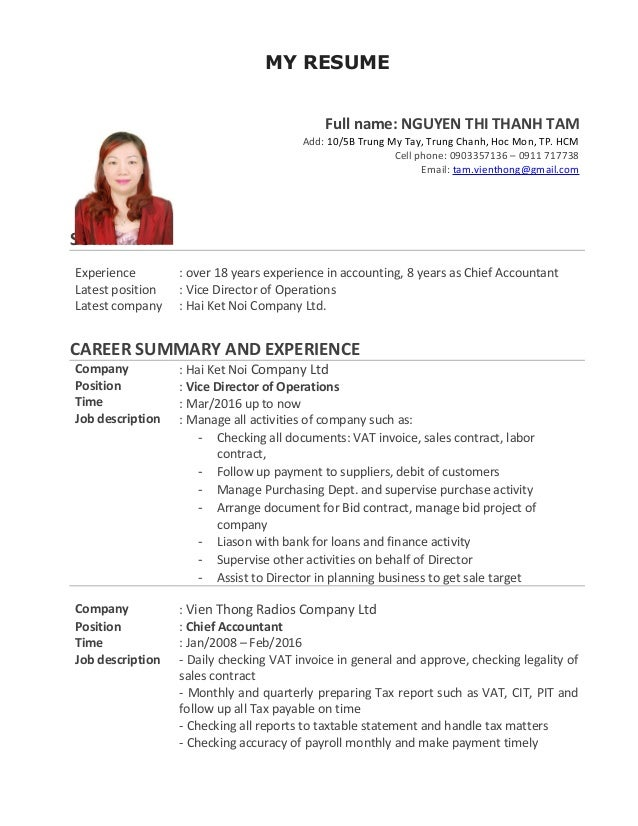 MY RESUME Full Name: NGUYEN THI THANH TAM Add: 10/5B Trung My ...  What Should I Name My Resume