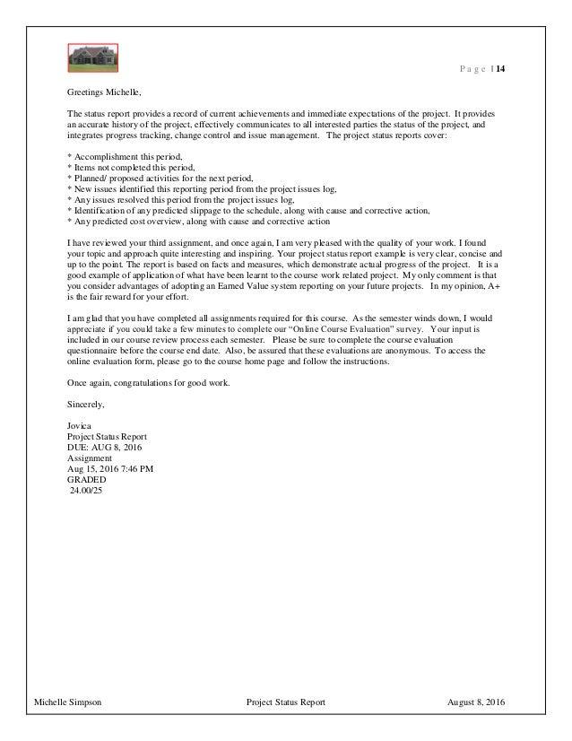 michelle simpson assignment 3 status report summary