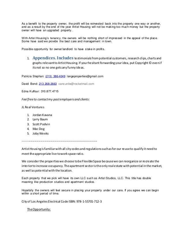 Artist Housing Business Proposal