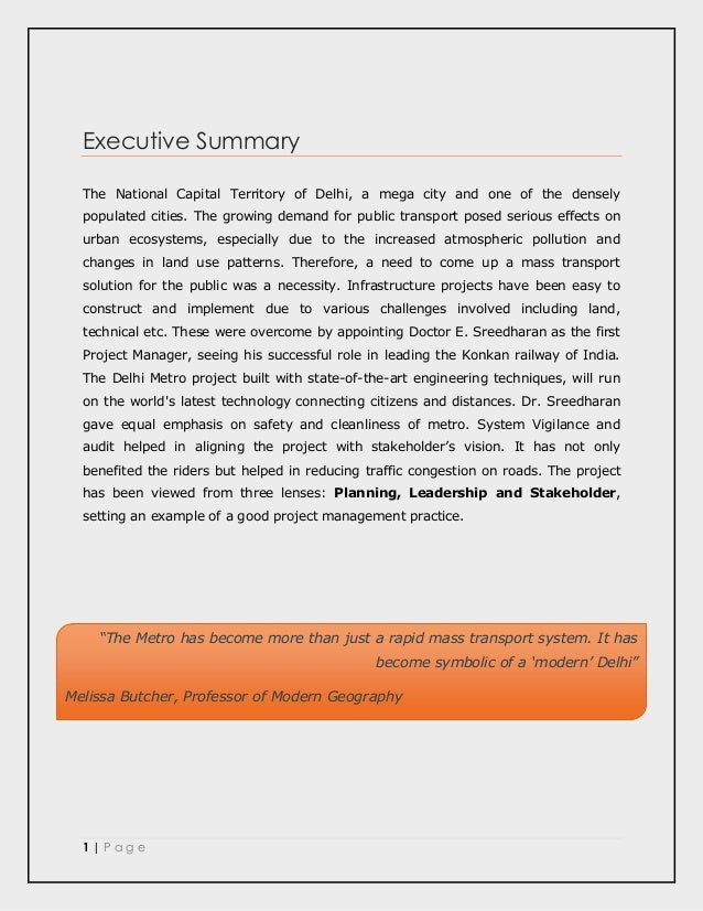 Type the company name] PM Project Case Study on The Delhi ...