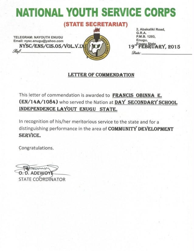 Nysc letter of commendation altavistaventures Image collections