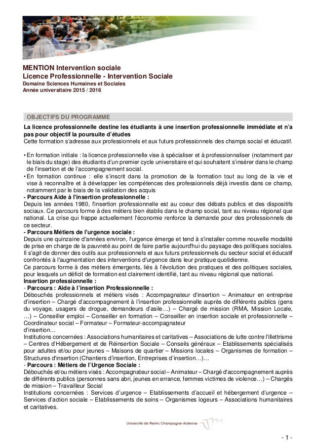 MENTION Intervention sociale Licence Professionnelle - Intervention Sociale Domaine Sciences Humaines et Sociales Année un...